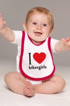 I Love Bikergirls Baby Kontrast Lätzchen