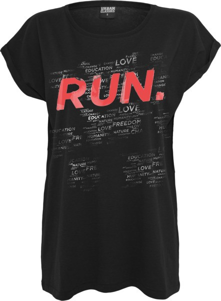 """RUN THIS WORLD"" Ladies Extended Shoulder Tee"