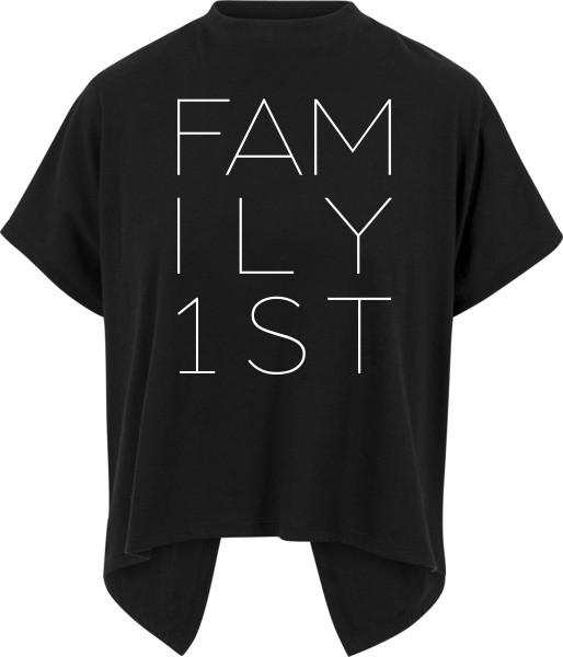 """FAMILY FIRST"" Ladies Overlap Turtleneck Tee"